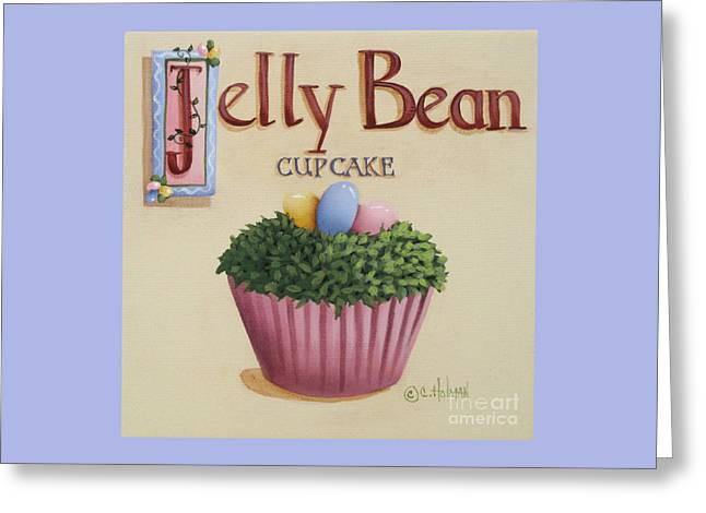 Country Kitchen Greeting Cards - Jelly Bean Cupcake Greeting Card by Catherine Holman