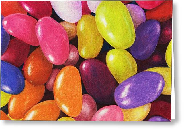 Interior Still Life Drawings Greeting Cards - Jelly Beans Greeting Card by Anastasiya Malakhova