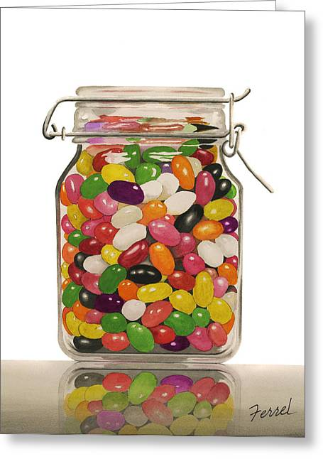 Candy Jar Greeting Cards - Jelly Beans Greeting Card by Ferrel Cordle