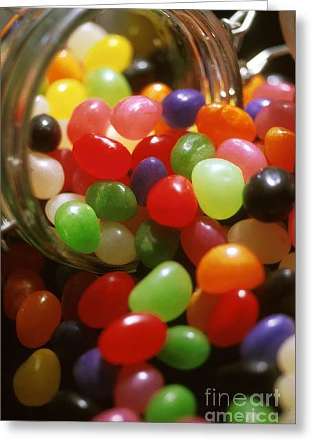 Kitchen Photos Greeting Cards - Jelly Beans Spilling Out Of Glass Jar Greeting Card by Anonymous
