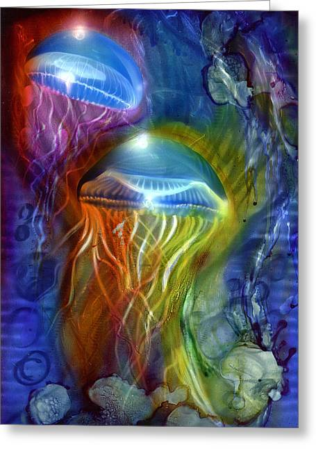 Jelly Fish Paintings Greeting Cards - Jelly Fish 2 Greeting Card by Luis  Navarro