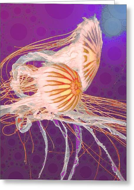 Purple Mushrooms Digital Greeting Cards - Jelly Fish 4 Greeting Card by Cindy Edwards