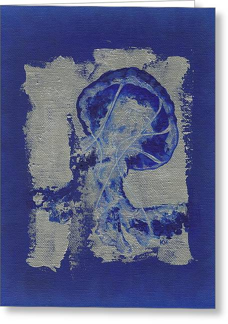 Blue Jellyfish Greeting Cards - Jelly fish Greeting Card by Konni Jensen