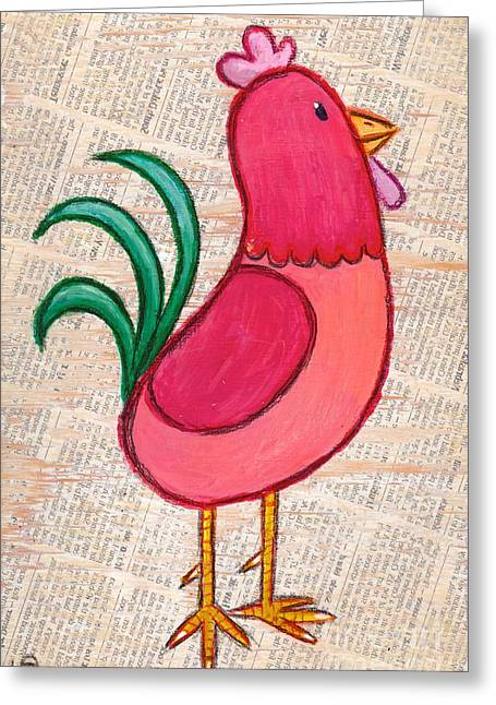 Tennessee Farm Drawings Greeting Cards - Jellybean Rooster Greeting Card by Lucas T Antoniak