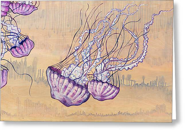 Man Of War Greeting Cards - Jellyfish Ballet Greeting Card by Emily Brantley