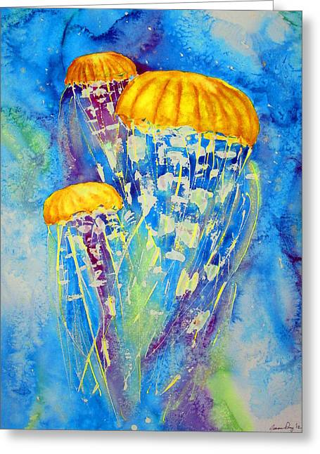 Jelly Fish Paintings Greeting Cards - Jellyfish on the move Greeting Card by Joann Perry