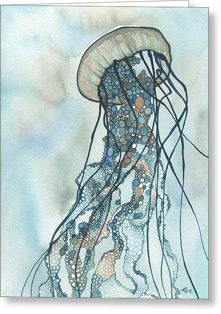 Blue Jellyfish Greeting Cards - Jellyfish Three Greeting Card by Tamara Phillips