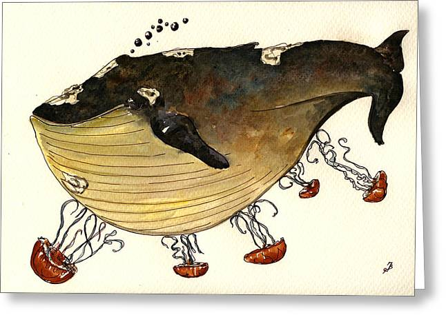 Blue Jellyfish Greeting Cards - Jellyfish tickling a whale Greeting Card by Juan  Bosco
