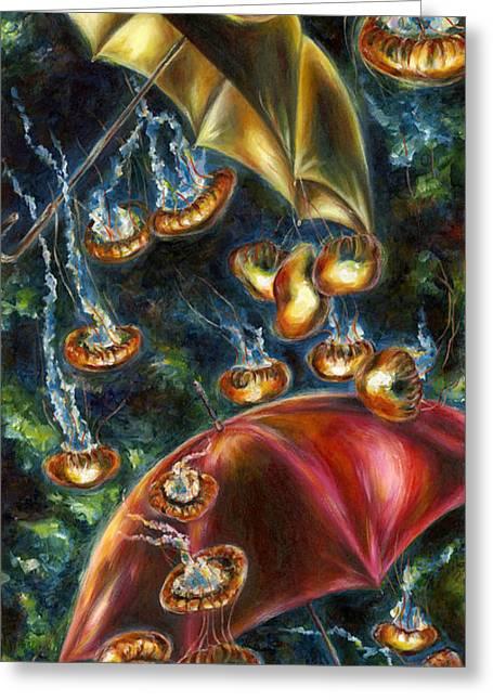 Jellyfish Art Greeting Cards - Jellyfishy Evening Greeting Card by Hiroko Sakai