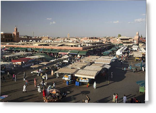 Local Food Places Greeting Cards - Jemaa El Fna Marrakech Morocco Greeting Card by Martin Turzak