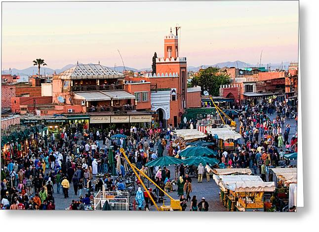 Historic Places Greeting Cards - Jemaa el Fna square at Dusk in Marrakesh Morroco Greeting Card by David Smith