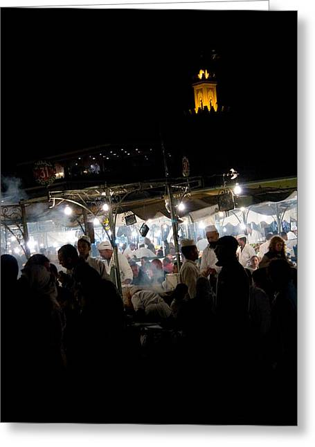 Work Place Greeting Cards - Jemaa el Fna square in Marrakesh at nightorroco Greeting Card by David Smith