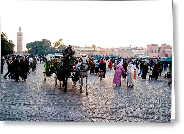 Historic Places Greeting Cards - Jemaa el Fna square in Marrakesh. Morroco Greeting Card by David Smith