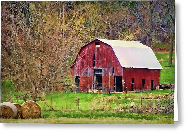 Hay Bales Greeting Cards - Jemerson Creek Barn Greeting Card by Cricket Hackmann