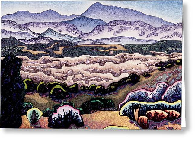 Santa Fe Mixed Media Greeting Cards - Jemez mountains Greeting Card by Dale Beckman