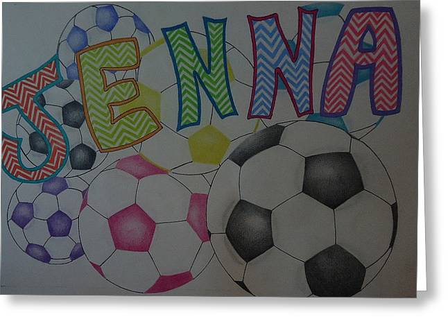 Girls Soccer Art Greeting Cards - Jenna Greeting Card by G Marie
