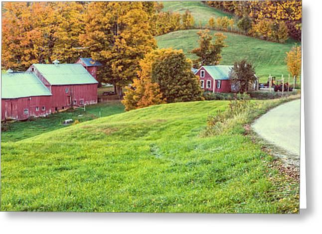 Vermont Landscapes Greeting Cards - Jenne Farm Vermont Panoramic Greeting Card by Edward Fielding
