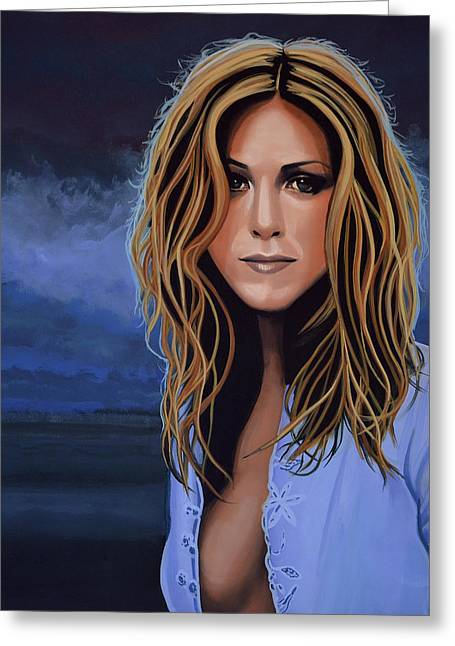 Jennifer Aniston Painting Greeting Card by Paul Meijering