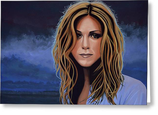 Just Greeting Cards - Jennifer Aniston Greeting Card by Paul  Meijering