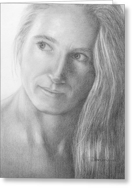 Pensive Drawings Greeting Cards - Jennifer Greeting Card by Deirdre Donovan