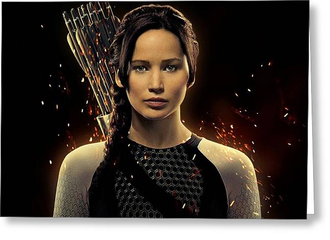 Xmen Greeting Cards - Jennifer Lawrence as Katniss Everdeen Greeting Card by Movie Poster Prints