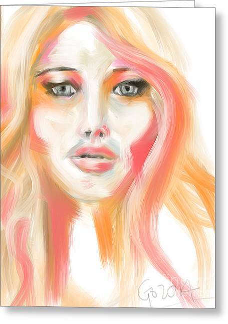 Celeb Greeting Cards - Jennifer Lawrence Greeting Card by Go Van Kampen