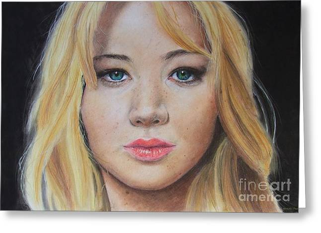 Looking At The Stars Greeting Cards - Jennifer Lawrence Greeting Card by Natalia Chaplin