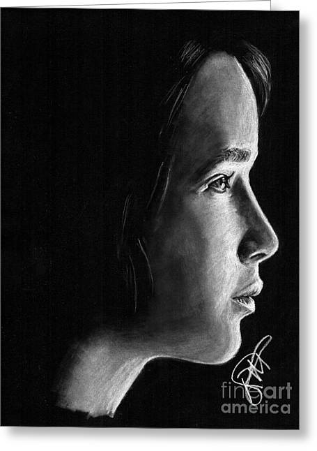 Charcoal Portrait Greeting Cards - Jennifer Lawrence Greeting Card by Rosalinda Markle