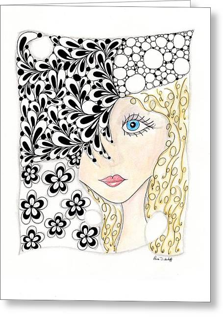 Pen And Ink Drawing Greeting Cards - Jennifer Greeting Card by Paula Dickerhoff