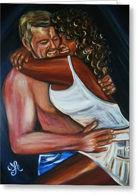 Interracial Love Greeting Cards - Jenny and Rene - Interracial Lovers Series Greeting Card by Yesi Casanova
