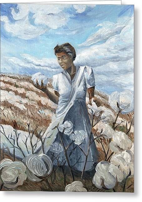 Slavery Paintings Greeting Cards - Jenny in the Cottonpatch Greeting Card by Paula Blasius McHugh