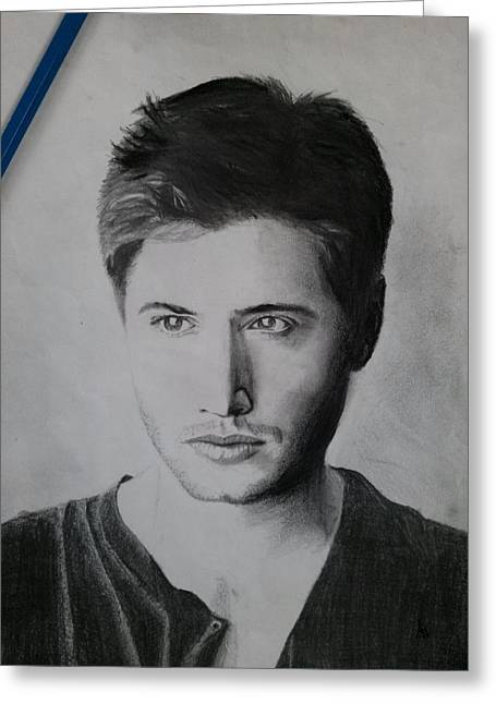 Jensen Ackles Greeting Card by Ajay G