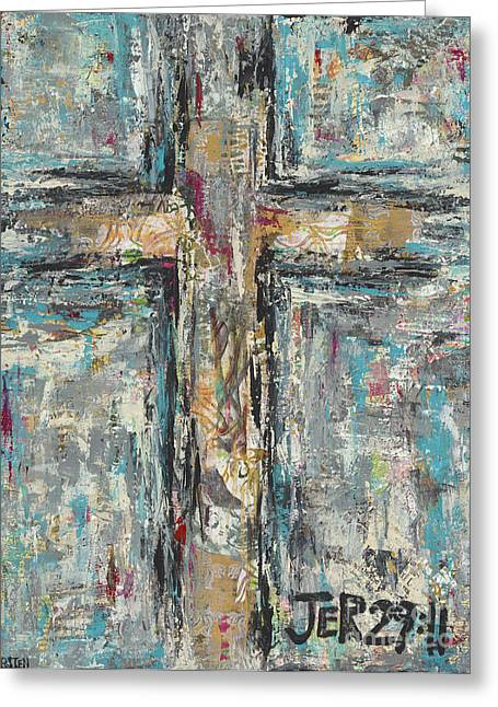 Jeremiah Mixed Media Greeting Cards - Jeremiah Cross Greeting Card by Kirsten Reed