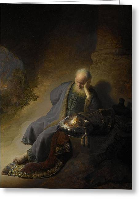 Foretelling Greeting Cards - Jeremiah Lamenting Over The Destruction Of Jerusalem, 1630 Oil On Panel Greeting Card by Rembrandt Harmensz. van Rijn