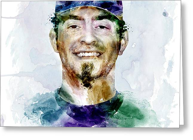 Jeremy Greeting Cards - Jeremy Affeldt watercolor Greeting Card by Marian Voicu