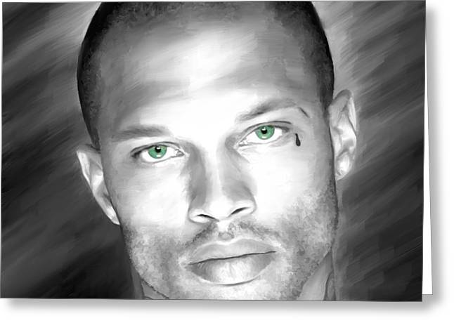 Jeremy Greeting Cards - Jeremy Meeks Large Size Portrait Greeting Card by Gabriel T Toro