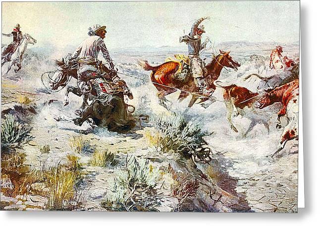 Working Cowboy Greeting Cards - Jerked Down Greeting Card by Charles Russell