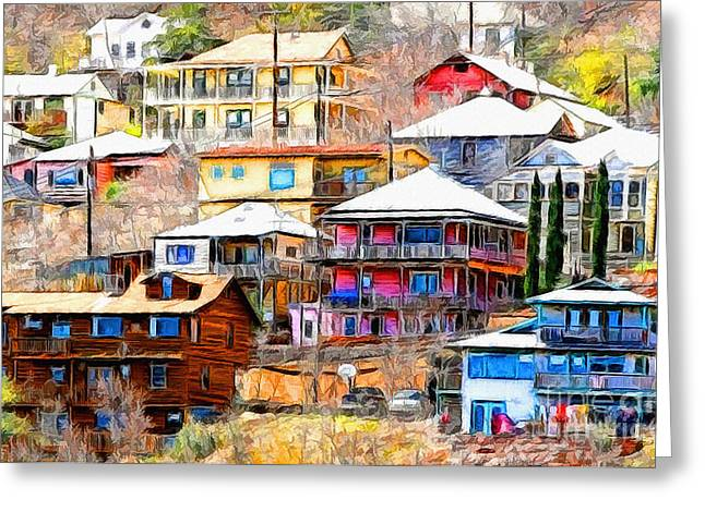 Artists Colony Greeting Cards - Jerome Arizona Hillside Houses Greeting Card by Clare VanderVeen