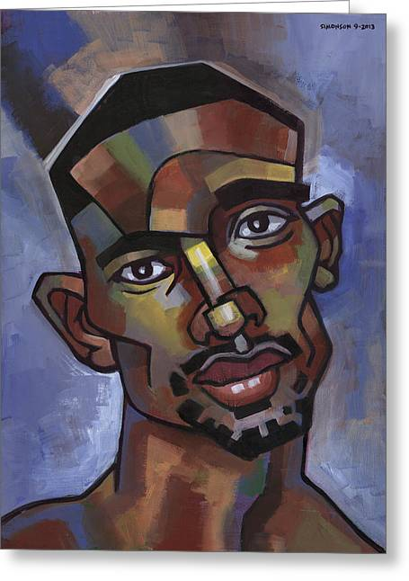 African-american Paintings Greeting Cards - Jerome Has a Good Thought Greeting Card by Douglas Simonson