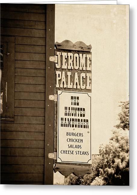 Hamburger Greeting Cards - Jerome Palace - The Haunted Hamburger Greeting Card by Saija  Lehtonen