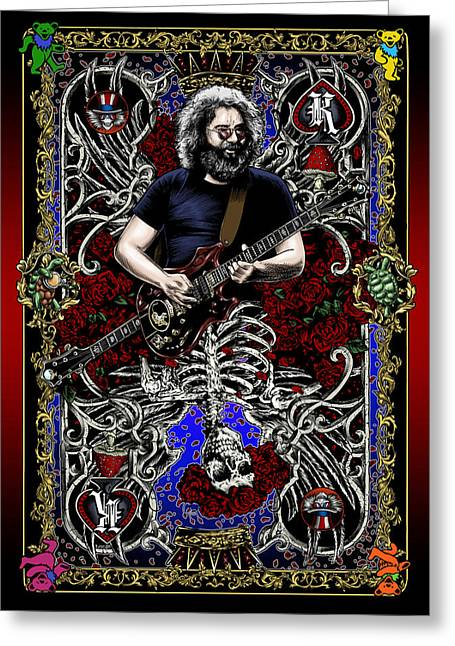 Rock And Roll Paintings Greeting Cards - Jerry Card Greeting Card by Gary Kroman