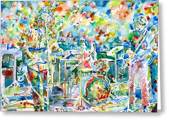 Jerry Garcia Band Greeting Cards - JERRY GARCIA and the GRATEFUL DEAD live concert - watercolor portrait Greeting Card by Fabrizio Cassetta