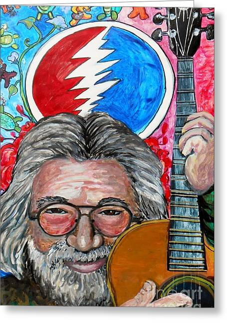 Jerry Garcia Band Greeting Cards - Jerry Garcia Fun Tribute Greeting Card by Emily Michaud