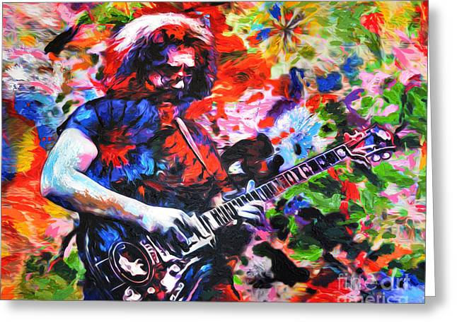 Sixties Music Greeting Cards - Jerry Garcia - Grateful Dead - Original Painting Print Greeting Card by Ryan RockChromatic