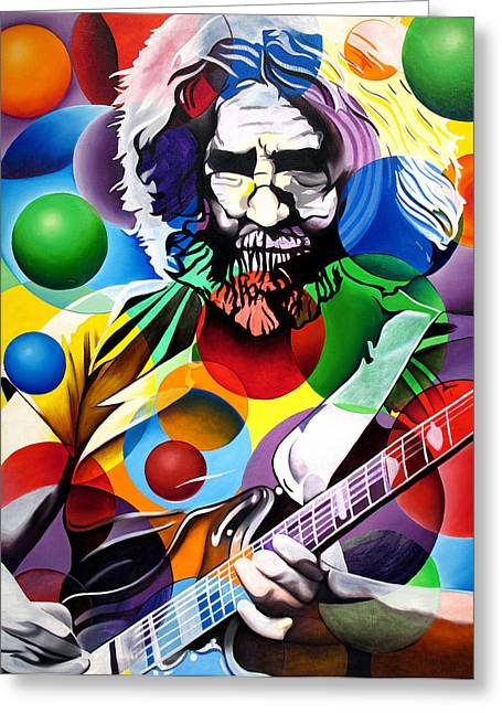 Grateful Dead Greeting Cards - Jerry Garcia in Bubbles Greeting Card by Joshua Morton