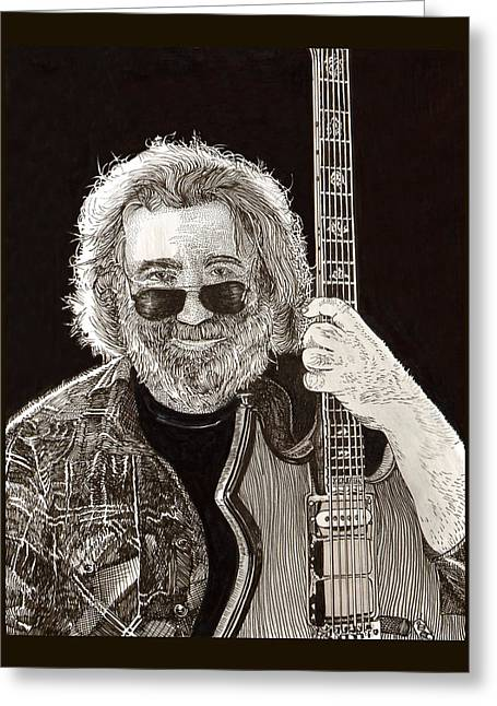 Stretching Drawings Greeting Cards - Jerry Garcia string beard gutaire Greeting Card by Jack Pumphrey