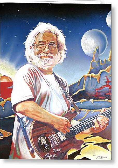 Morton Greeting Cards - Jerry garcia Live at the Mars Hotel Greeting Card by Joshua Morton