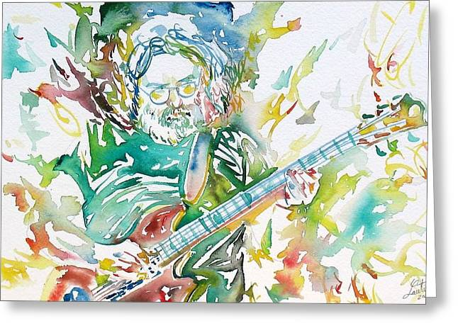 Guitar Pictures Greeting Cards - JERRY GARCIA PLAYING the GUITAR watercolor portrait.1 Greeting Card by Fabrizio Cassetta