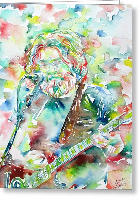 Live Concerts Greeting Cards - JERRY GARCIA PLAYING the GUITAR watercolor portrait.2 Greeting Card by Fabrizio Cassetta