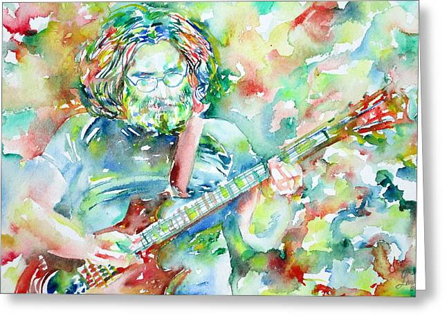 Grateful Dead Greeting Cards - JERRY GARCIA PLAYING the GUITAR watercolor portrait.3 Greeting Card by Fabrizio Cassetta